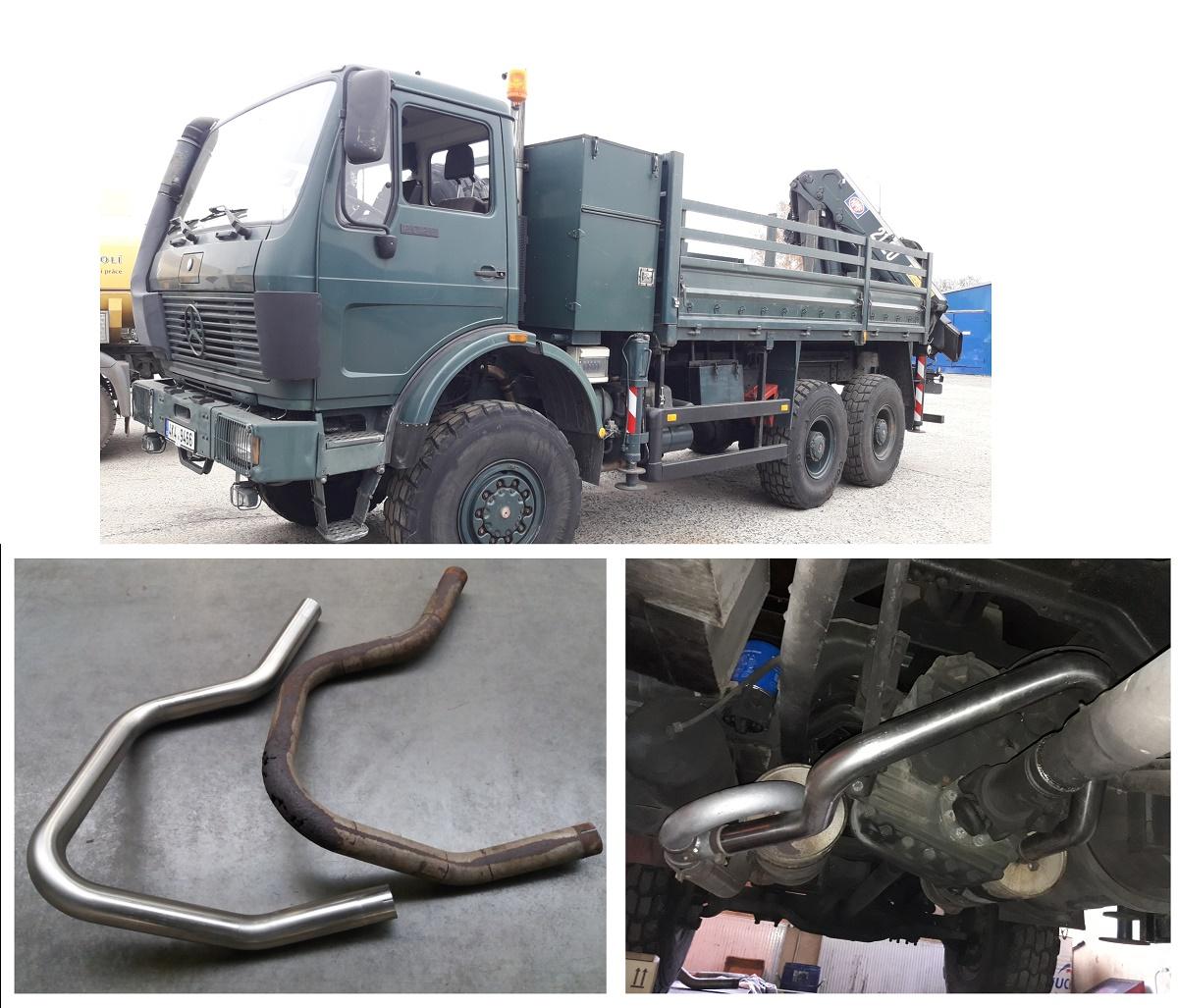 Mercedes 6x6 - nerez trubka 76 mm