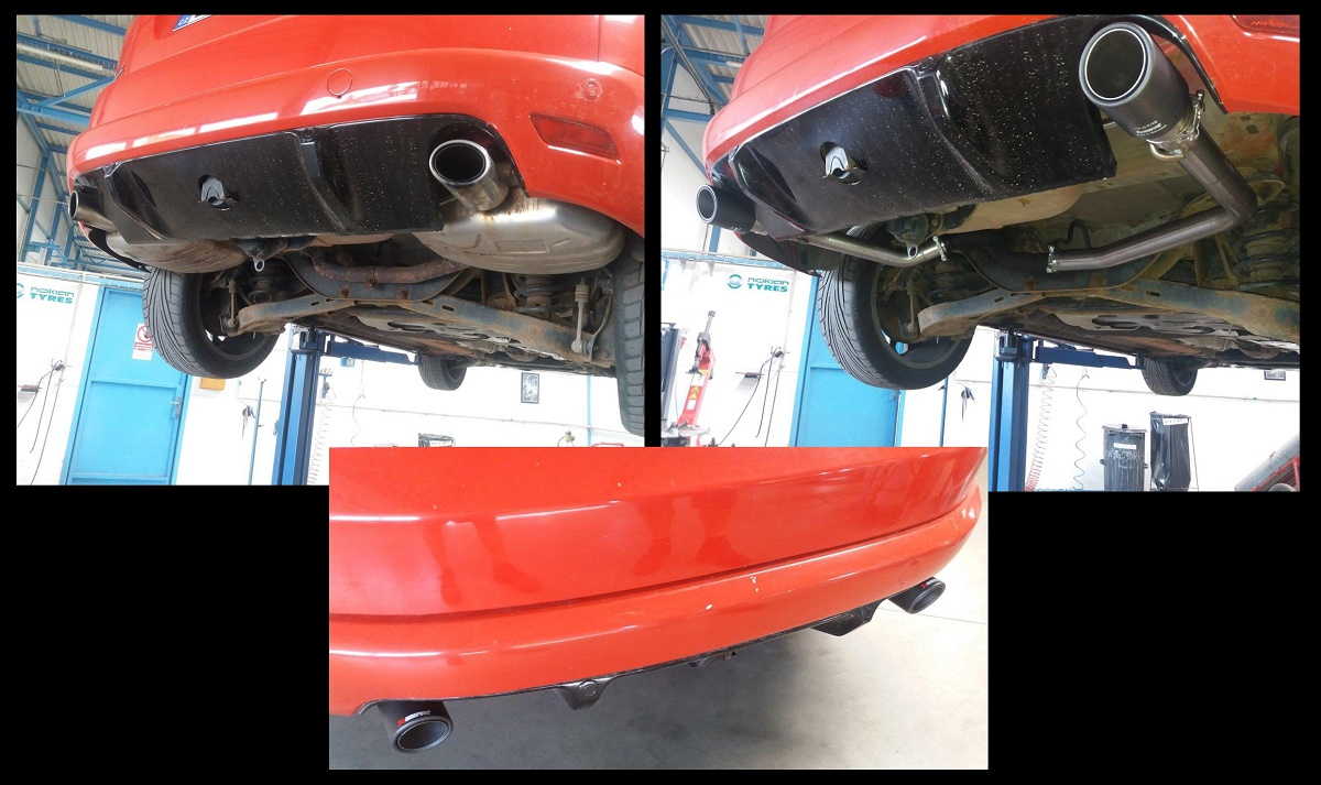 Ford S MAX ST - náhrada zadních tlumičů - nerez trubka 55 mm + koncovky