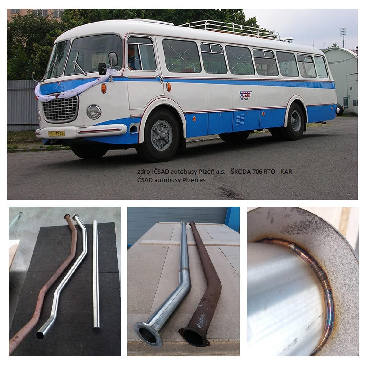autobus Škoda 706 RTO trubka výfuku nerez 76 mm